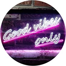 Good Vibes Only Wall Plaque Night Light Dual Color LED Neon Sign White & Purple 400 x 300mm st6s43-i1077-wp