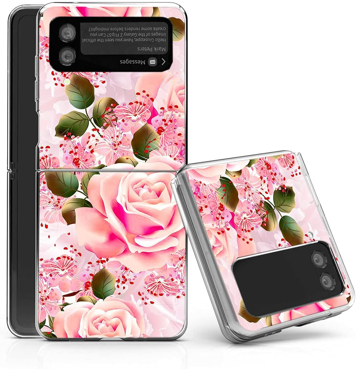 Galaxy Z Flip 3 5G Case,Bcov Pink Rose Flowers Anti-Scratch Solid Hard case Protective Shookproof Phone Cover for Samsung Galaxy Z Flip 3 5G