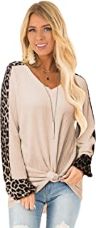 LANISEN Womens Casual Long Puff Sleeve Waffle Knit Pullover Tunic Tops with Leopard Print