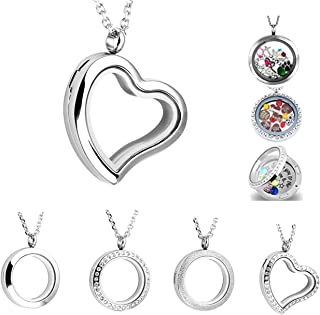 Round Heart Stainless Steel Locket Floating Charm Pendant Necklace - 21.5