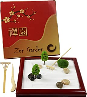 Deluxe Mini Zen Garden, Natural Wood Japanese Zen Garden for Desk, Zen Sand Garden Desktop, Play Sandbox, Sand Play Therapy Set, Zen Sand Garden