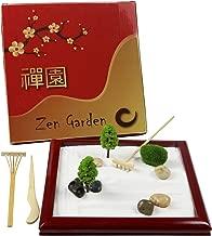 Deluxe Mini Zen Garden, Natural Wood Japanese Zen Garden for Desk, Zen Sand Garden Desktop, Play Sandbox, Sand Play Therapy Set, Zen Sand Garden