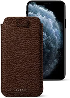 Lucrin - Pull-Up Strap Case Sleeve Cover Compatible with iPhone 11 Pro Max/XS Max/ 8 Plus and Wireless Charging - Dark Brown - Granulated Leather