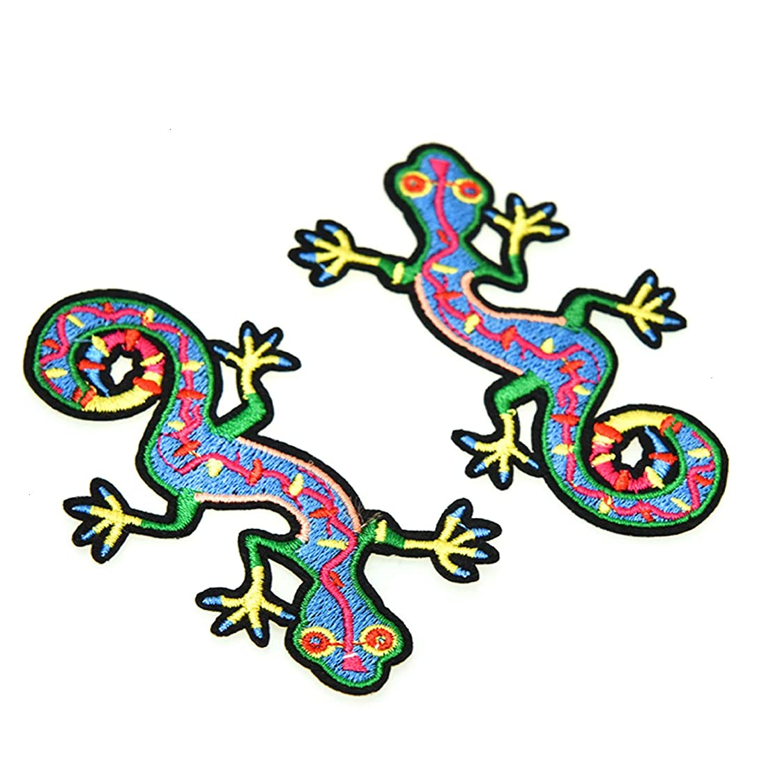 Monrocco 8 Pack Handmade Design Lizard Patches Iron on Retro Animal Embroidery DIY Patches Hat Cap Polo Backpack Clothing Jacket Shirt