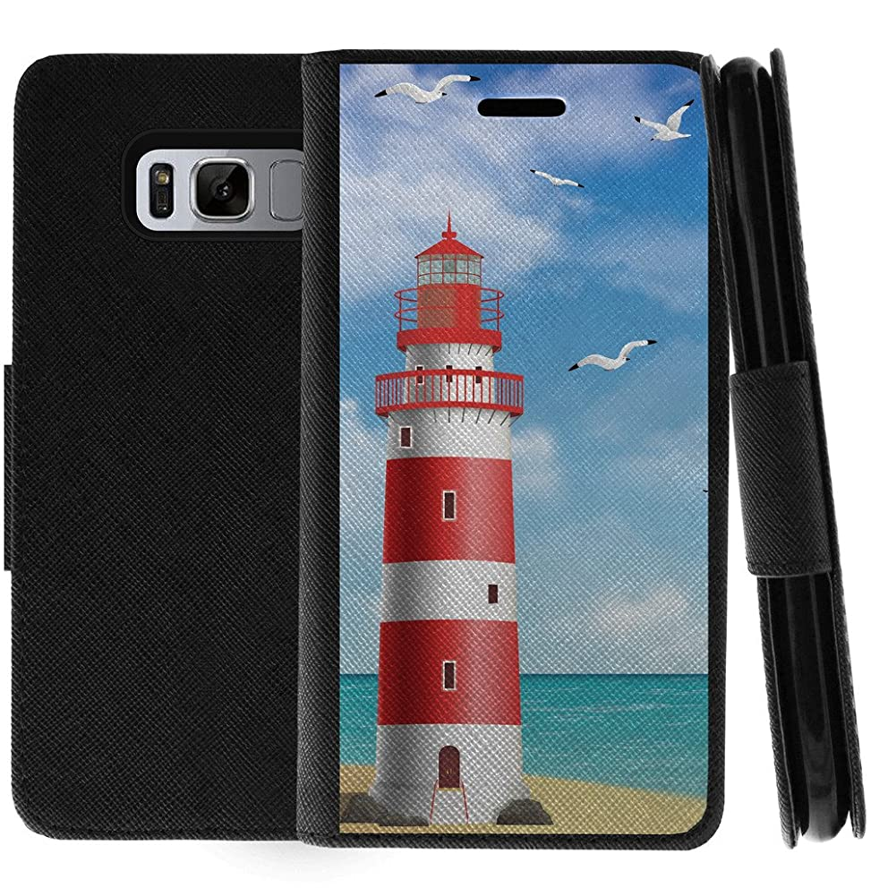 TurtleArmor | Samsung Galaxy S8 Active Case | G892 | Flip Kickstand Leather Flip Wallet Case Cover with Card Slots Ocean Beach Design - Lighthouse Pier