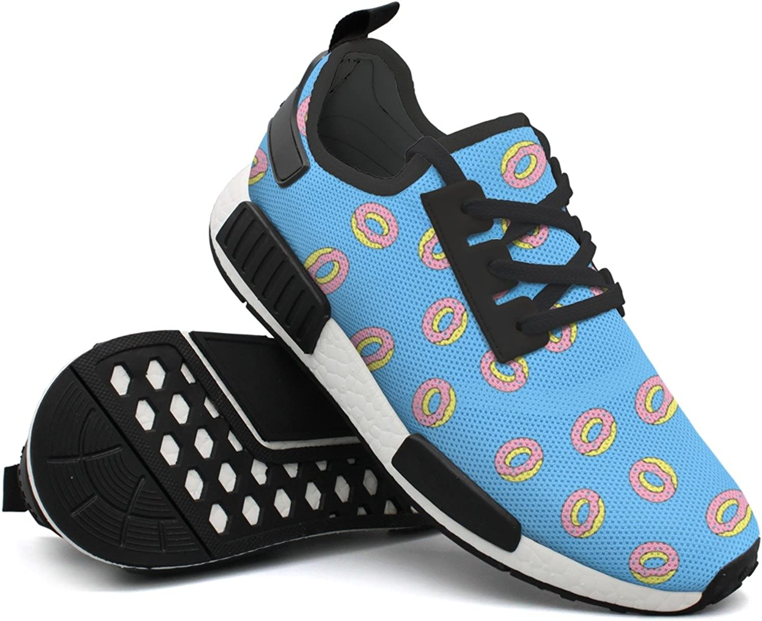 Fashion Sneaker For Men Donut Food Pattern Retro Lightweight Breathable Mesh Mens Tennis shoes