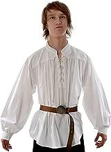 come foto Uomini adulti Rinascimento medievale Sposi Rievocazione pirata Costume Larp Allacciatura camicia Camicia maniche medioevo Top per uomo L