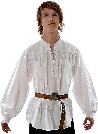 Hemad - Camisa Medieval Pirata para Hombre - Cuello Alto, Encaje Delantero, algodón Ligero - S-XXXL Blanco y Negro