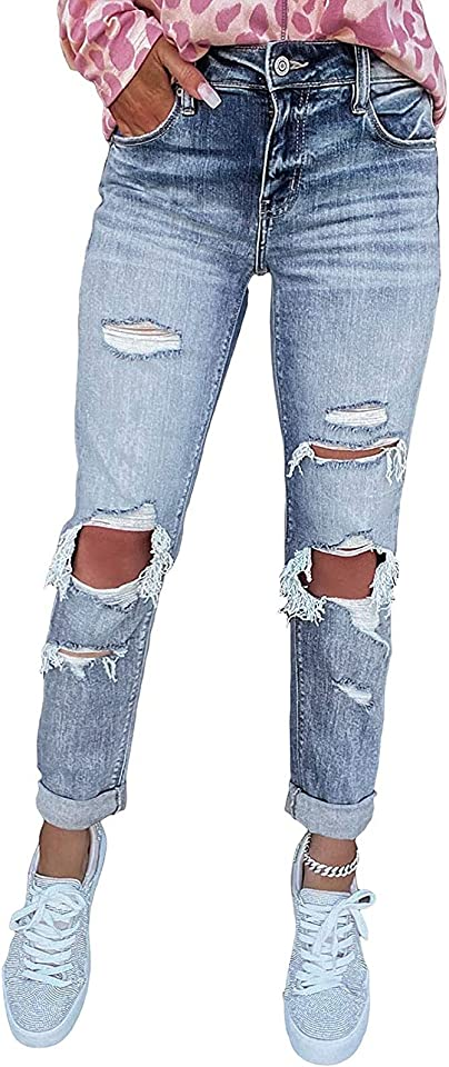 Damen Skinny High Waist Jeans Stretch Jeanshose Löcher Elegant Röhrenjeans Frauen Risse Ripped Lang Eng Denim Hose Destroyed Jeggings