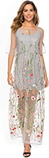 Women's Floral Embroidered Tulle Prom Maxi Dress with Cami Dress 3/4 Sleeves