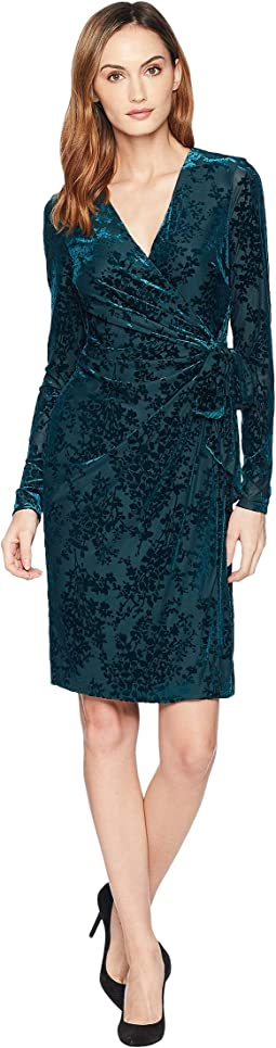 Flocked Velvet Wrap Dress