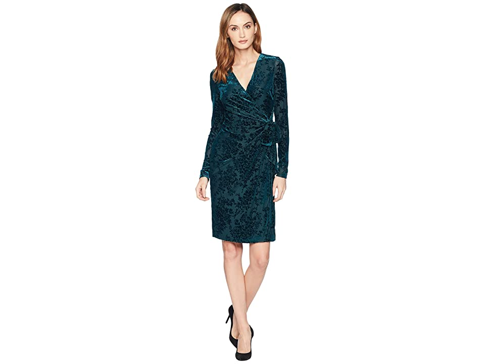 LAUREN Ralph Lauren Flocked Velvet Wrap Dress (Green) Women