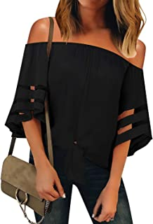 Women's Casual V Neck Mesh Panel 3/4 Bell Sleeve Solid Loose Blouse Top