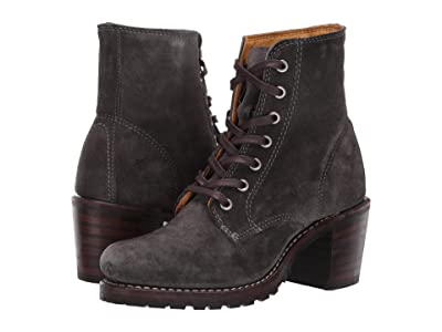 Frye Sabrina 6G Lace Up (Charcoal Oiled Suede) Women