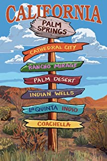 Palm Springs, California - Destinations Sign (16x24 Giclee Gallery Print, Wall Decor Travel Poster)