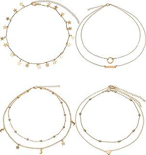 BBTO 4 Pieces Layered Pendant Choker Necklace Gold Layering Chain Choker for Women Girls