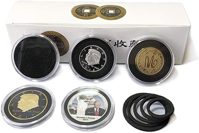 40x Coin Capsules Case Display Holder Storage Box with Adjustable Ring 16-41mm