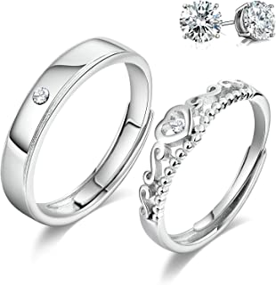 925 Sterling Silver Couple Rings Cubic Zirconia Wedding Ring for His & Her Promise Ring Adjustable (Heart Matching Ring)