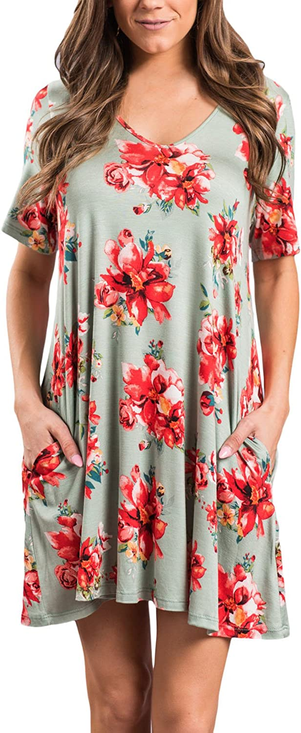 Iooho Casual Floral Dresses for Women Short Sleeve Mini Dress with Pockets V Neck