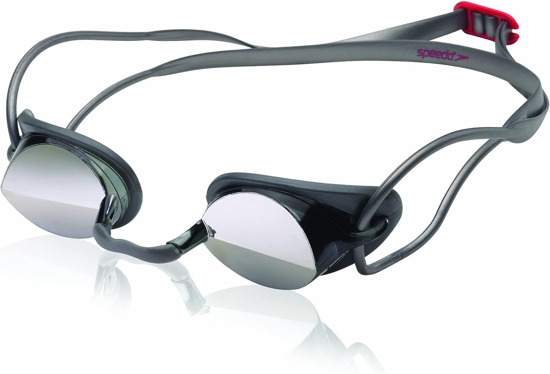 Speedo Hydralign Racer Mirro赤 Swim Goggle、ブラック