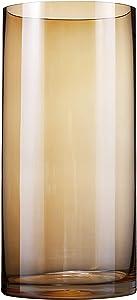 Umi.Essentials Vase Transparent Cylindrique Vase en Verre Décoration Désign Maison Mariage Table-Ambre(12cm,26cm)