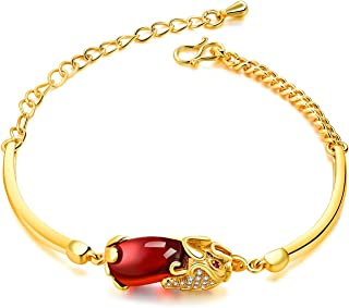 Gold Plated Red Stone Link Chain Bracelet for Women 19CM