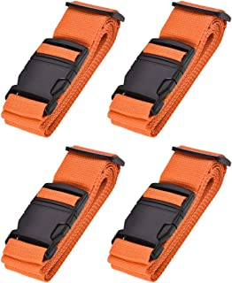 uxcell Luggage Straps Suitcase Belts with Buckle Label, 2Mx5cm Adjustable PP Travel Bag Packing Accessories, Orange 4Pcs
