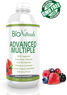 Bio Naturals Liquid Multivitamin for Men & Women with 200+ Nutrients - Vitamins A B C D3 E, CoQ10, Antioxidants, Minerals & Organic Extracts - 100% Vegetarian Whole Food Daily Supplement - 32 fl oz