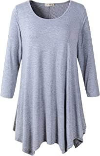 Women Plus Size 3/4 Sleeve Tunic Tops Loose Basic Shirt