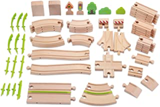 WOOKA Wooden Train Track 60 Piece Pack - 30 Distinct Pieces - 100% Compatible with Thomas, Brio, Chuggington, and Other Major Brands