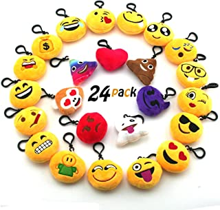JACHAM Novelty Toys Emoji Keychain, Emotion Plush Pillow,Kids Party Supplies Favors,Keychain Decorations 2.4