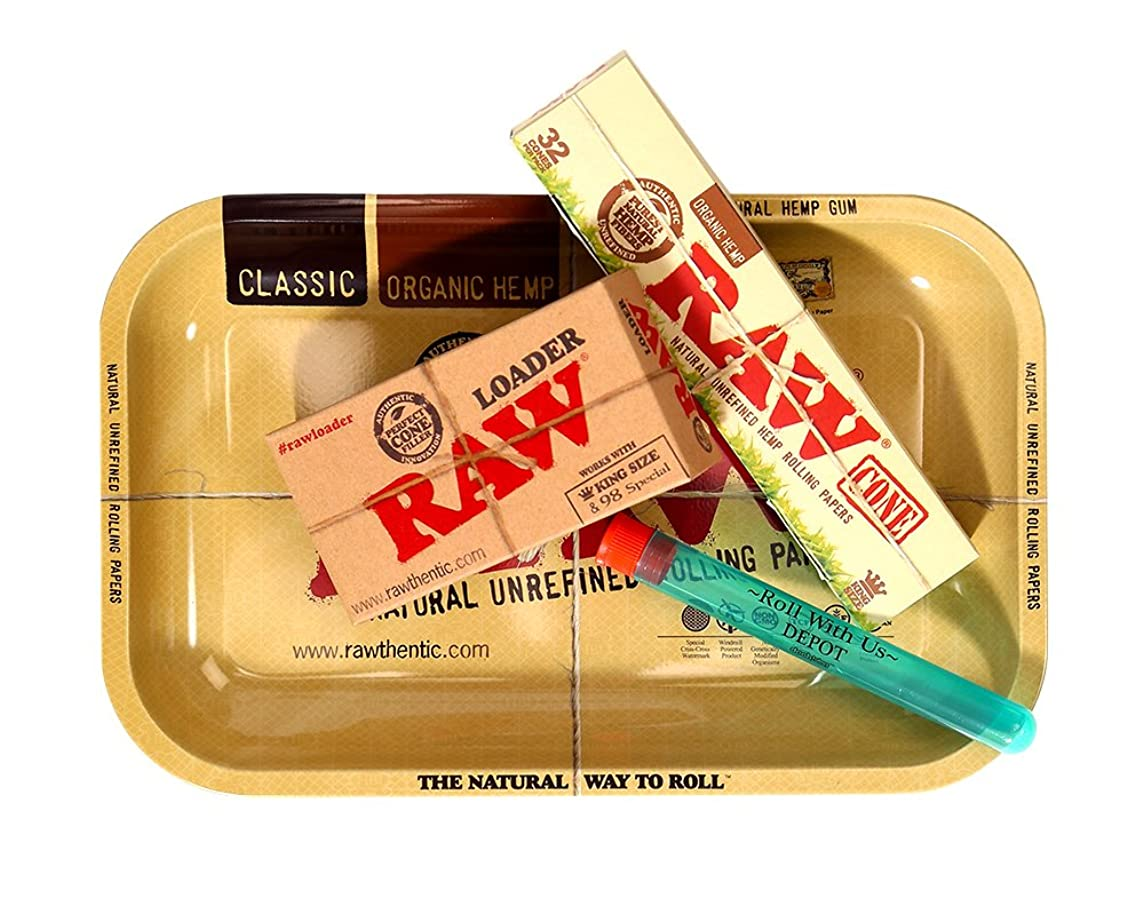 RAW Organic Pre Rolled Cone 32 Pack King Size Combo Includes: RAW Rolling Papers Rolling Tray, RAW Organic 32 Pack of Cones, RAW Loader, Roll with is Doobtube (Small)