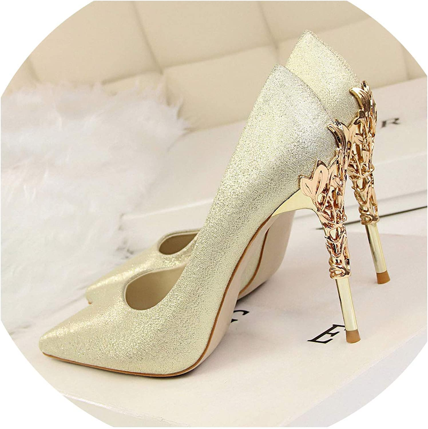 JIESENGTOO 2019 Metal Carving High Heels Woman Pointed Toe Silk Pumps Formal Party Wedding Satin Scarpin