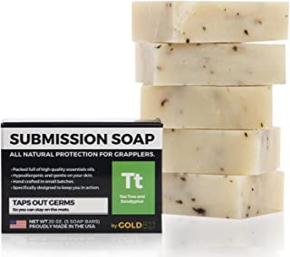 Premium Tea Tree Oil Soap - 100% All Natural USA Made Bars for BJJ, Jiu Jitsu, Wrestling, and Grappling - Combats Ringworm, Jock Itch, Athlete's Foot, Acne, and more (5-Pack of 4 Ounce Soap Bars)