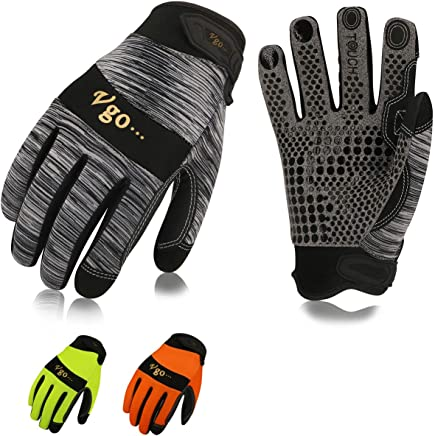 Vgo 3Pairs Work Glove, High Dexterity Synthetic Leather with Silicone for Antislip,Multipurpose(3 Color,Size XL,SL7895)
