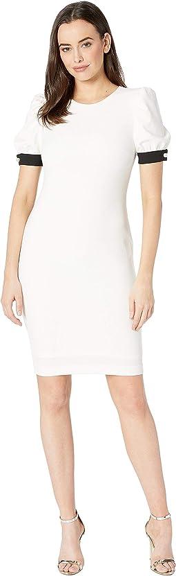 Puff Sleeve Sheath Dress with Pearl Ribbon Cuff CD8C18XP