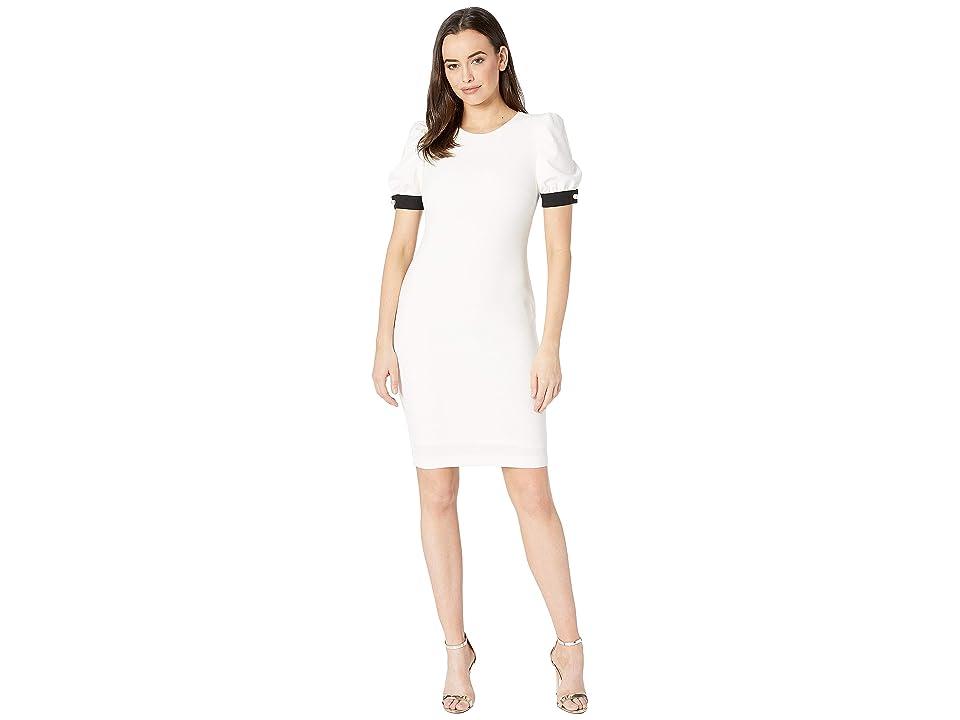 Calvin Klein Puff Sleeve Sheath Dress with Pearl Ribbon Cuff CD8C18XP (Cream/Black) Women