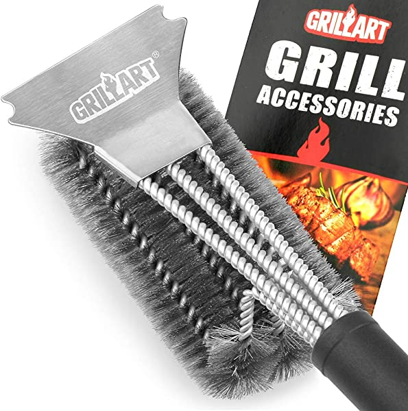 GRILLART Grill Brush And Scraper Best BBQ Brush For Grill Safe 18 Stainless Steel Woven Wire 3 In 1 Bristles Grill Cleaning Brush For Weber Gas Charcoal Grill Gifts For Grill Wizard Grate Cleaner