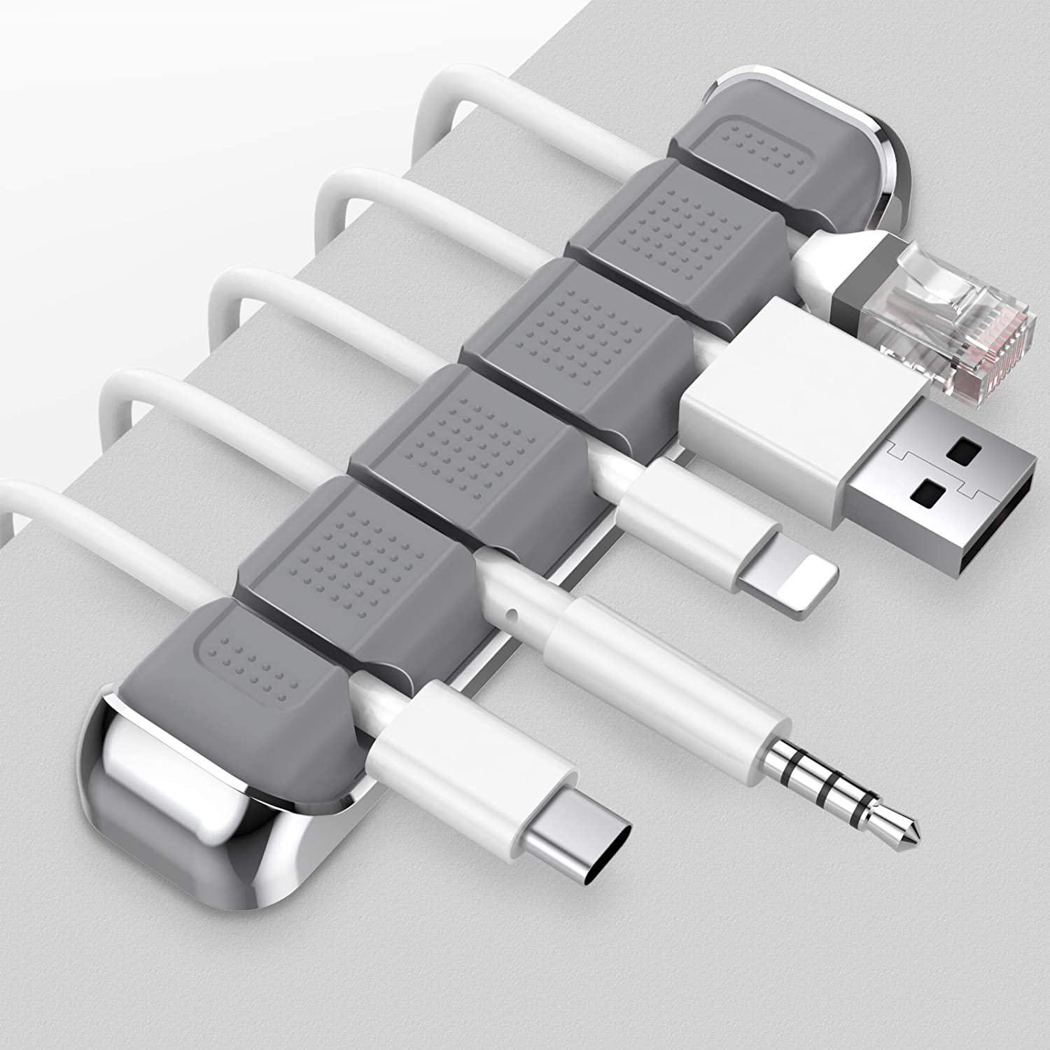 AhaStyle 5 Solts Cable Organizer Holder Metal Frame Desktop Cord Wire Clips Keeper for Organizing TypeC USB Cable//Power Cord//Wire Home Office and Car Grey
