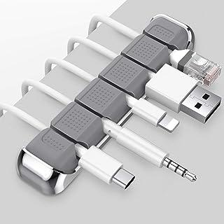 AhaStyle プレミアム ケーブルクリップ コード収納 ケーブル ホルダー コードまとめ 配線管理 ホーム、オフィス、自動車などに適用 (グレー)