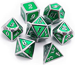 Haxtec 7 Die Metal DND Dice Set Green D&D Metal Dice Set for Dungeons and Dragons RPG Table Games-Glossy Enamel Dice (Silver Emerald Green)