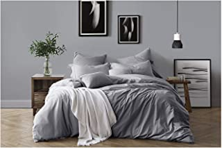 Swift Home 100% Cotton Washed Yarn Dyed Chambray Duvet Cover & Sham Bedding Set, Ultra-Soft Luxury & Natural Wrinkled Look – Twin/Twin XL, Ash Grey