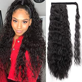 AISI BEAUTY Kinky Curly Ponytail Extension Corn Wave Kinky Ponytail Extension Clip in Hair Extensions Magic Paste Yaki Ponytail for Women(2#)