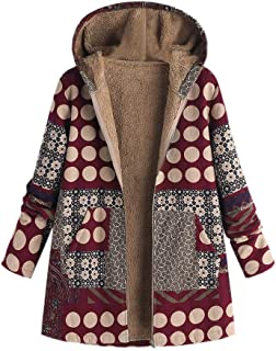 Pgojuni Women Jacket Thick Parka Hooded Long Sleeve Fluffy Fur Outwear Coat