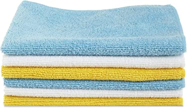 AmazonBasics CW190423D_EU Microfiber Cleaning Cloth - 222 GSM (Pack of 6), Multicolor