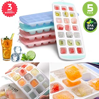 Ice Cube Trays 5 PACKS,Food Grade Flexible Silicone Ice Trays Molds with Lids, Easy Release Ice Trays Make 105-Ice Cube, Stackable Dishwasher Safe, Non-toxic,BPA Free(Life-Time Warranty)