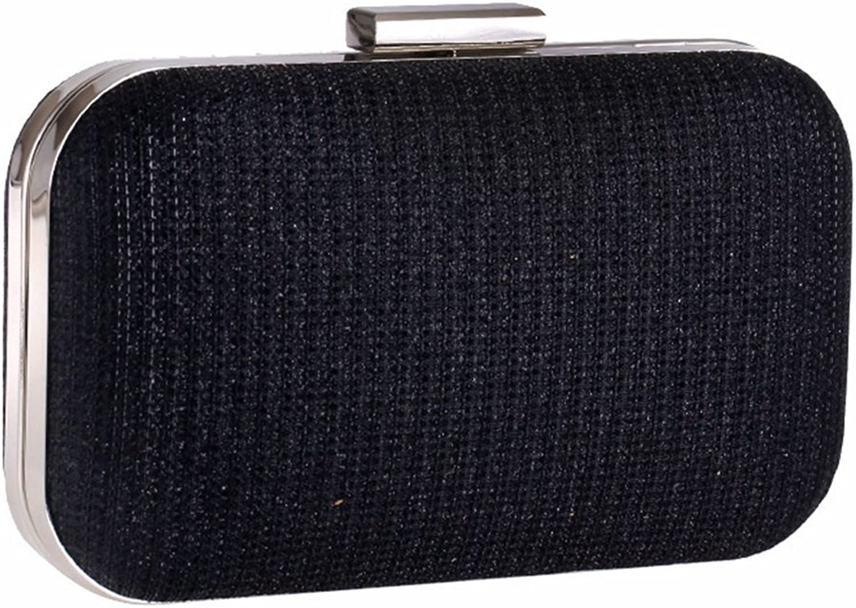 Huasen Evening Bag Women's Evening Party Clutch Handbag Chain Small Box Bag Square Hard Shell Clutch Purse Party Handbag (color   Black)