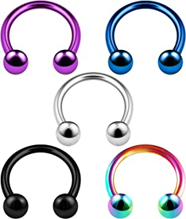 BanaVega 5PCS Stainless Steel Horseshoe Hoop 16 Gauge 3mm Ball Auricle Daith Cartilage Earrings Nose Piercing Jewelry See More Sizes