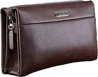 Mens Genuine Leather Clutch Bag RFID Blocking Handbag Organizer Checkbook Wallet Card Case with Wristlet