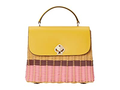 Kate Spade New York Romy Wicker Medium Top-Handle (Golden Curry) Handbags